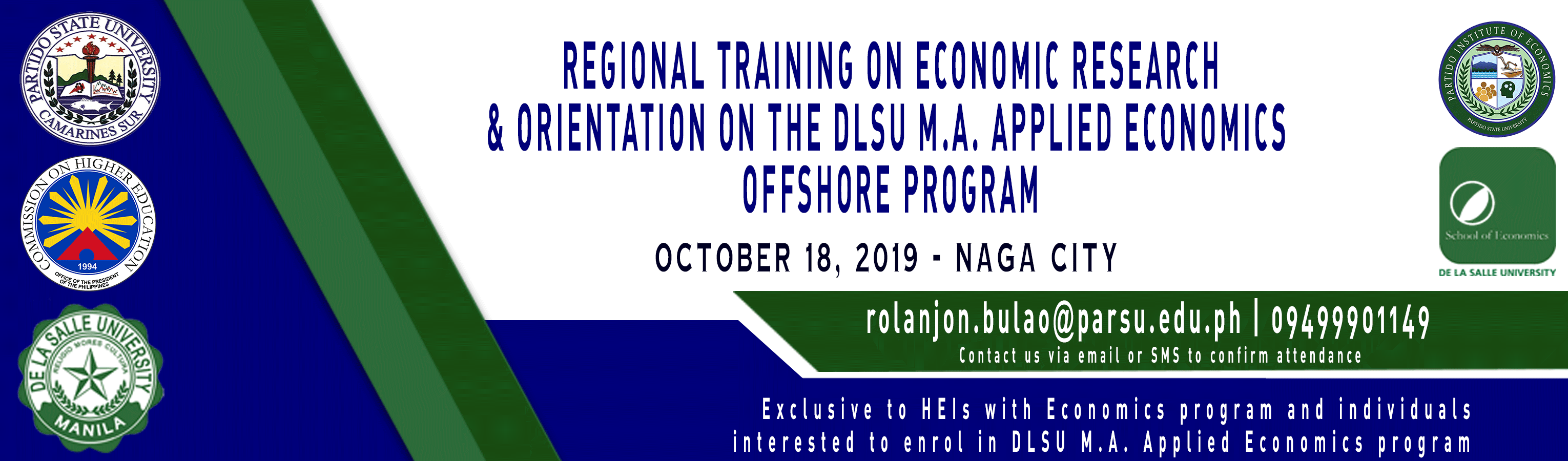 Regional Training on Economic Research & Orientation on the DSLU M.A. Appled Economics Offshore Program