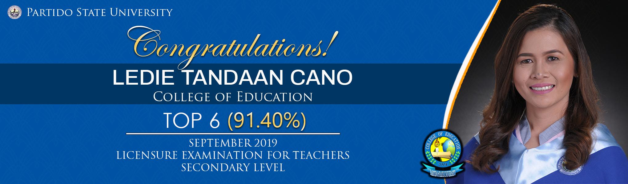 Congratulations, Ledie Tandaan Cano!