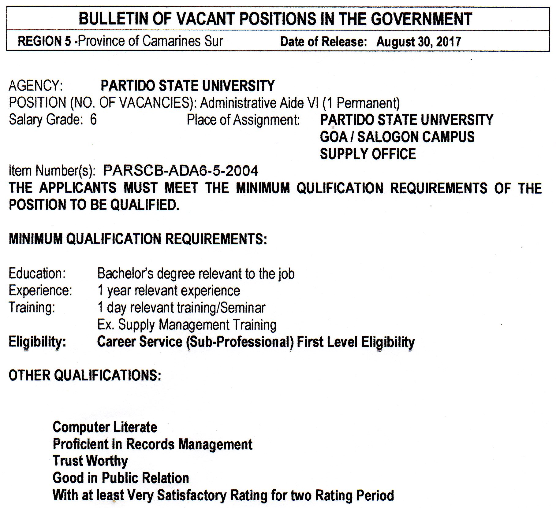partido state university invites application for the following teaching positions